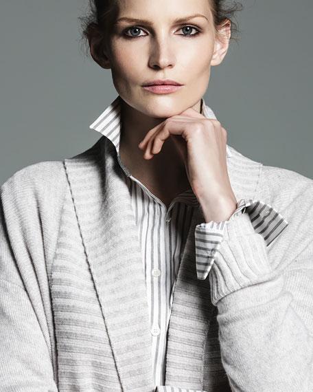 Vanise Long Ribbed-Trim Cashmere Cardigan