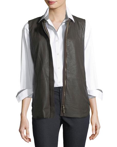 Kaelyn Leather Vest w/ Tech Cloth Back