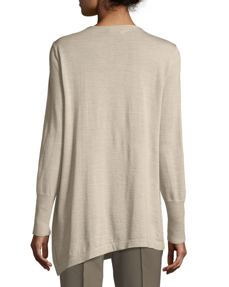 Asymmetric Cowl-Neck Merino Wool Sweater