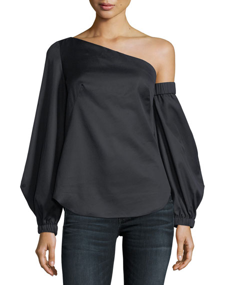 Image 1 of 1: Arya One-Shoulder Cotton Herringbone Shirting Top