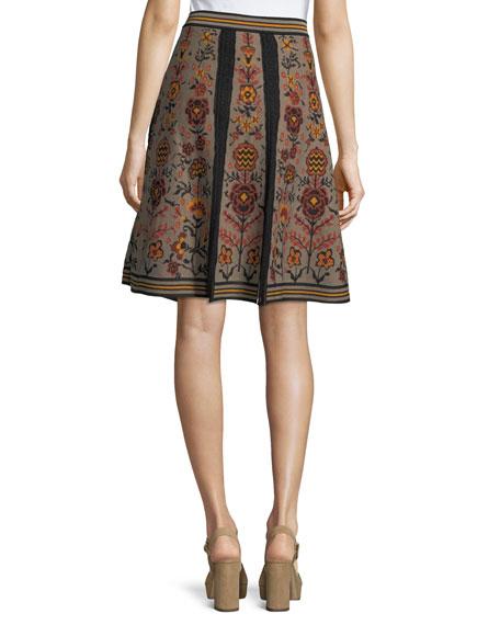 Floral Jacquard Knit Swing Skirt