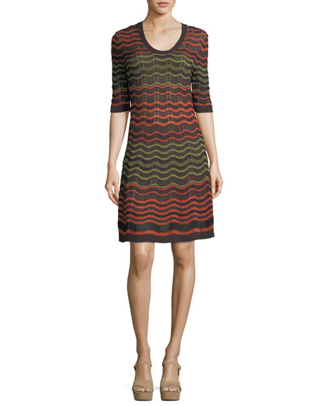 Half-Sleeve Greek Key Knit Dress