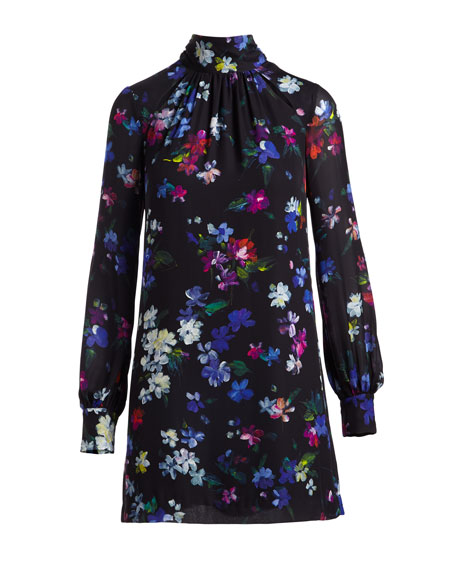 Milly Sherie Long Sleeve Painted Floral Georgette Silk