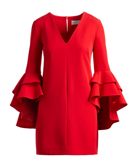 Nicole Double Ruffled Bell-Sleeve Cocktail Dress