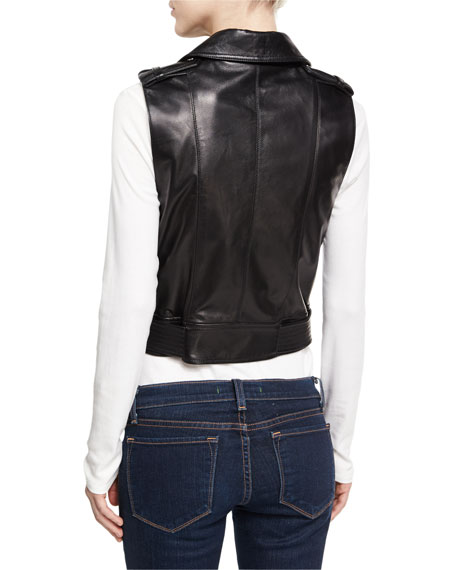Sleeveless Motorcycle Jacket, Black