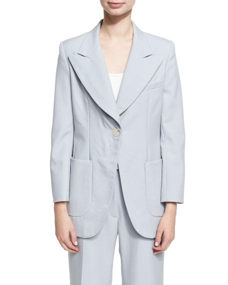 Single Breasted Wool Jacket, Blue
