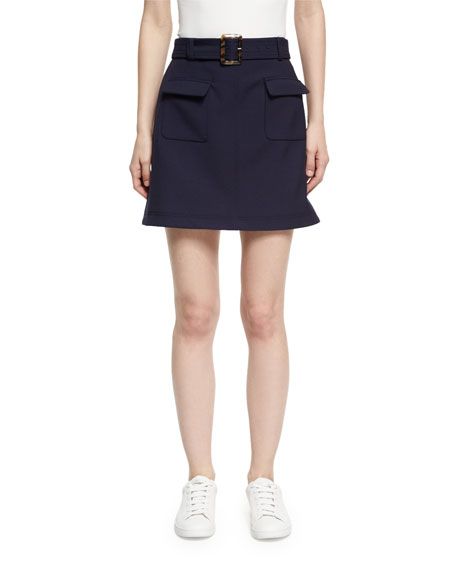 Patch Pocket Cotton Mini Skirt, Navy