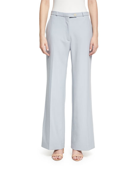 Wide-Leg Tailored Trousers, Blue
