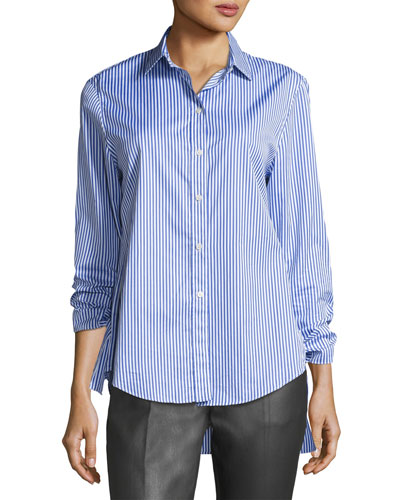 Thomas Striped Button-Front Tie-Cuff Shirt