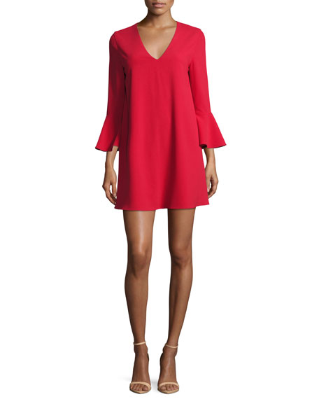 Tameika Trumpet-Sleeve Shift Dress