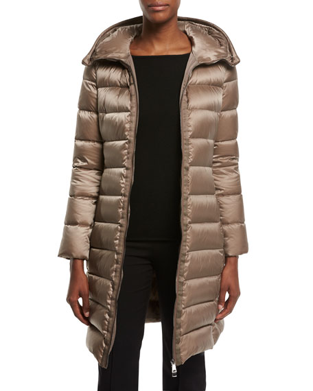 Tinuviel Shiny Quilted Puffer Coat w/Fur Hood