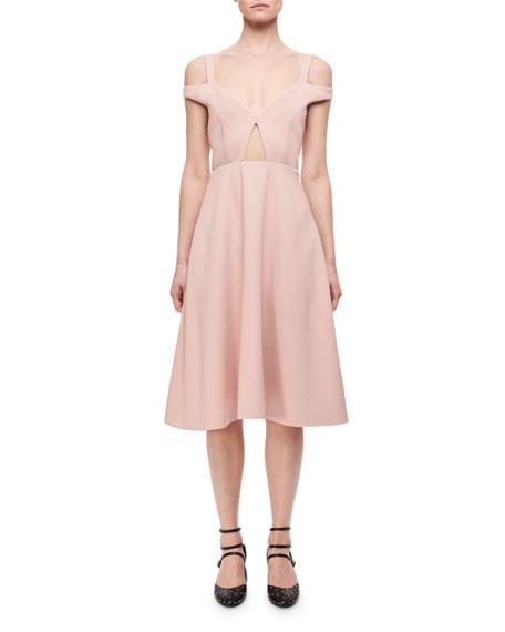 Cold-Shoulder Cutout Midi Dress