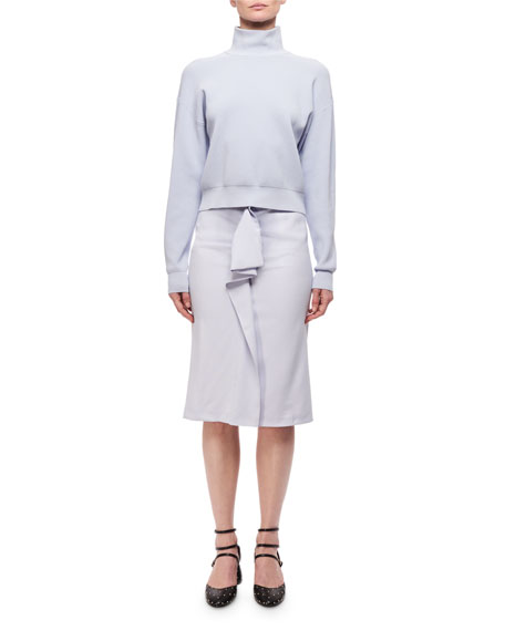 High-Rise Deconstructed Pencil Skirt w/ Ruffle