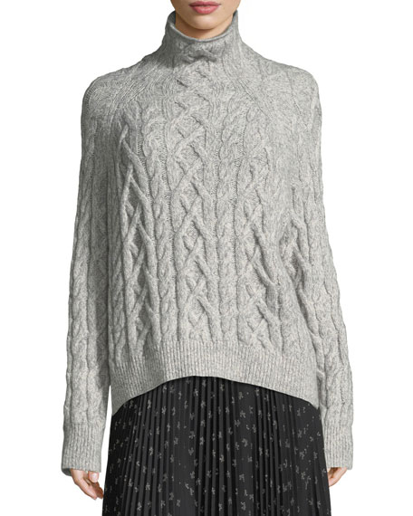 b49696ff44b4 Vince Oversized Cable-Knit Turtleneck Sweater