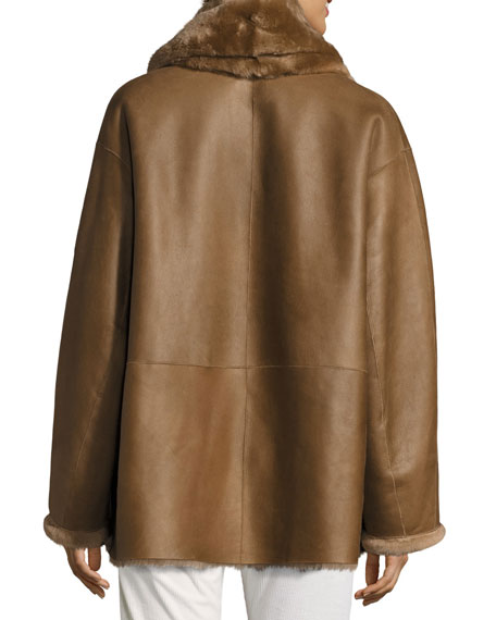 Shawl Collar Reversible Shearling Coat