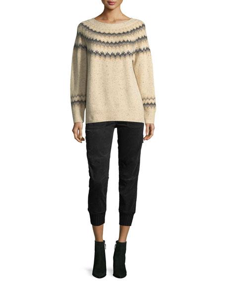 Fair Isle Cashmere Raglan-Sleeve Sweater