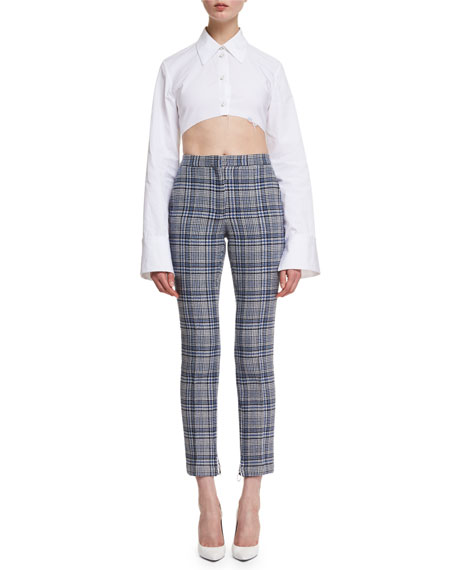 Cropped Plaid High-Waist Pants