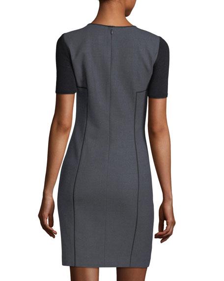 Salandra Short-Sleeve Piped Sheath Dress