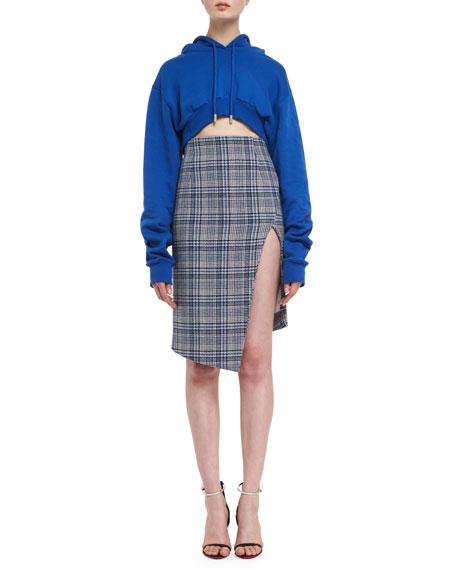 Plaid Side-Slit Skirt