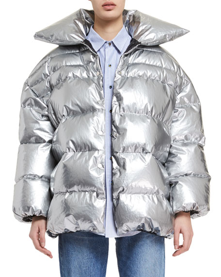 Quilted Nylon Puffer Coat