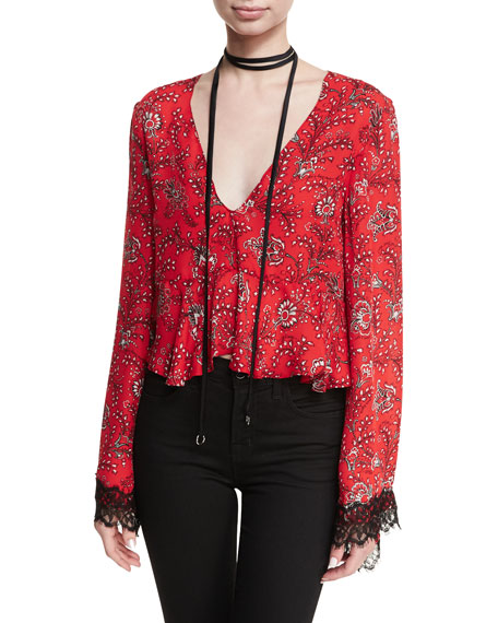 Jemma Printed Silk Top W/ Choker Detail