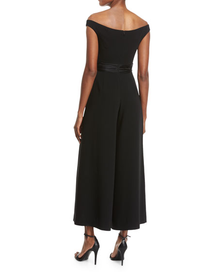 Vina Off-the-Shoulder Crepe Jumpsuit, Black