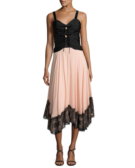 Kaya Chiffon Lace Midi Skirt, Pink Black Multi