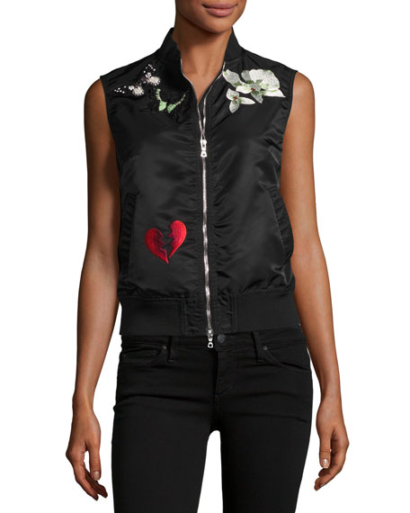 Kingston Embellished Sateen Vest, Black
