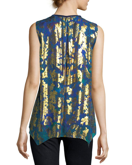 Elle Sleeveless Metallic Floral Blouse