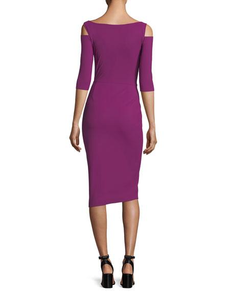 Althaia Cold-Shoulder Cocktail Dress w/ Asymmetric Faux Leather Panel