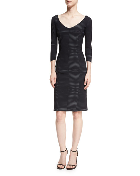 Arethusa 3/4-Sleeve V-Neck Bonded Mesh Cocktail Dress