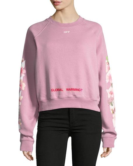 081d0f265574 Off-White Cropped Cherry Blossom Sweatshirt