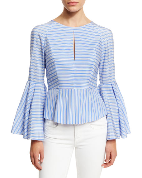 Luna Striped Bell-Sleeve Peplum Blouse, Sky