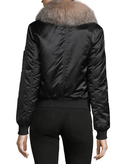 Long-Sleeve Zip-Front Bomber Jacket w/ Fur Collar