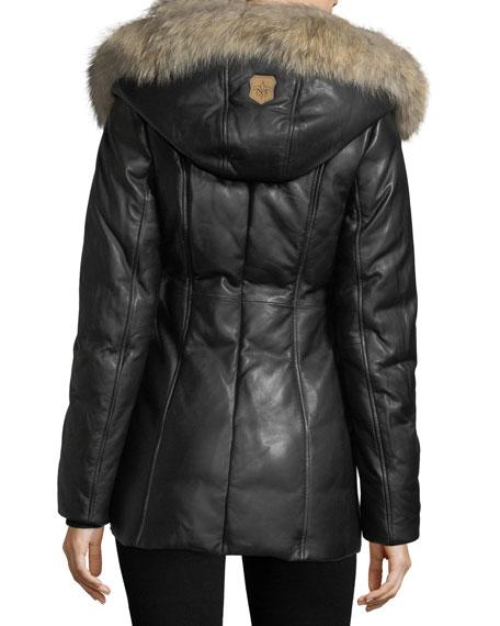 Ingrid Leather Jacket w/ Fur Collar