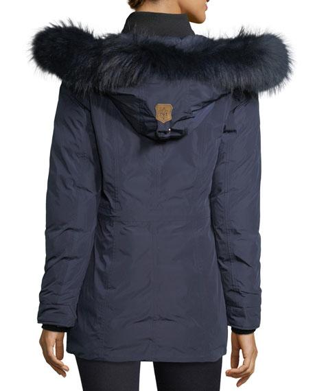 Katryn Hip-Length Down Jacket w/ Fur Trim