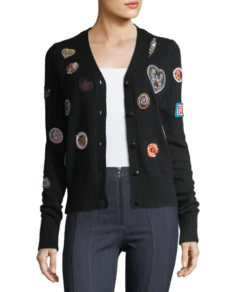 Meadow Button-Front Embroidered Cardigan Sweater