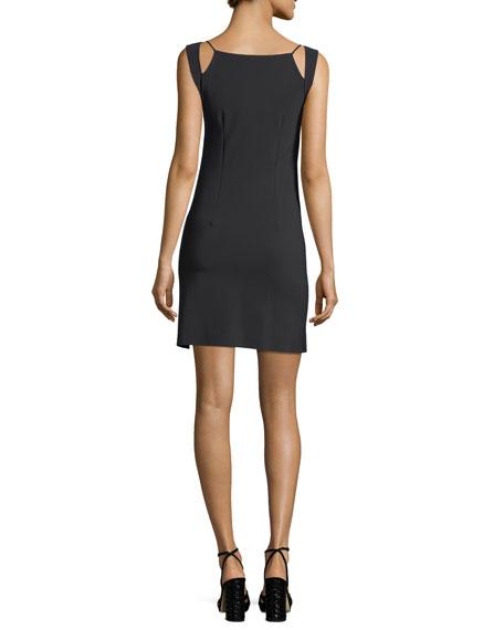 Eiko Geometric-Neck Sleeveless A-Line Cocktail Dress
