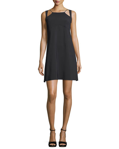 Eiko Geometric-Neck Sleeveless A-Line Cocktail Dress