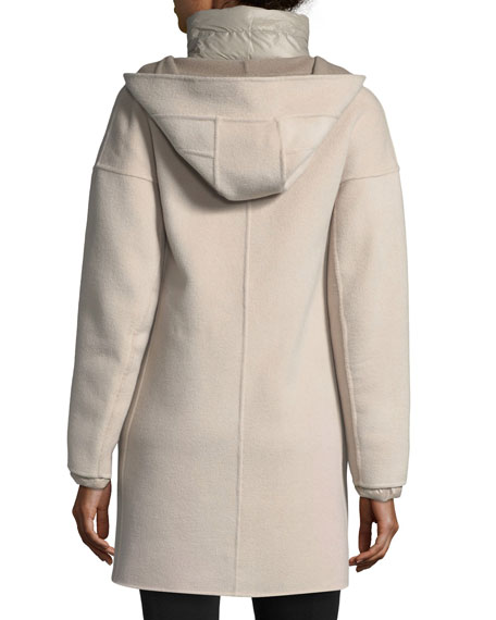 Cashmere Double-Face Hooded Wool Coat w/ Ultra Light Down Jacket