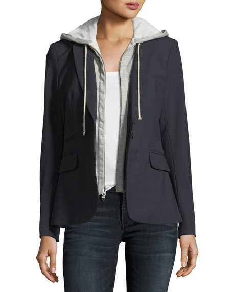 Cashmere Hoodie Zip-Front Dickey