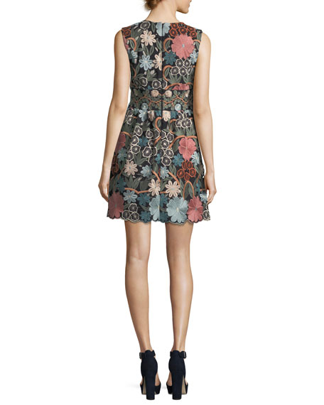 Sleeveless Embroidered Floral-Lace Dress