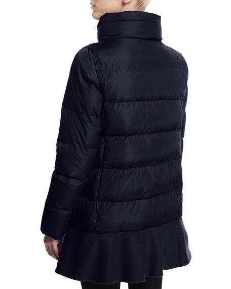 Vburnum Quilted Flounce-Hem Coat