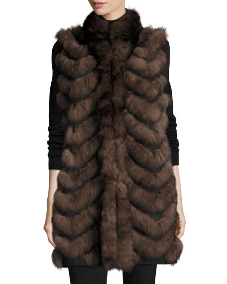 Long Chevron-Paneled Reversible Fur Vest