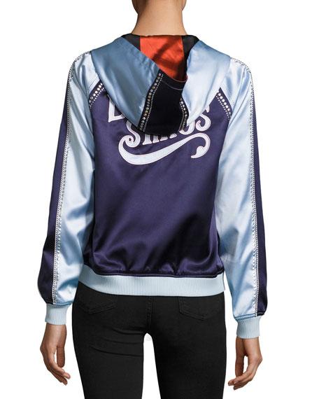 Love Stings Embellished Satin Track Jacket