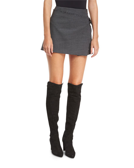 Houndstooth-Printed Pleated Mini Skirt w/ Frayed Edges