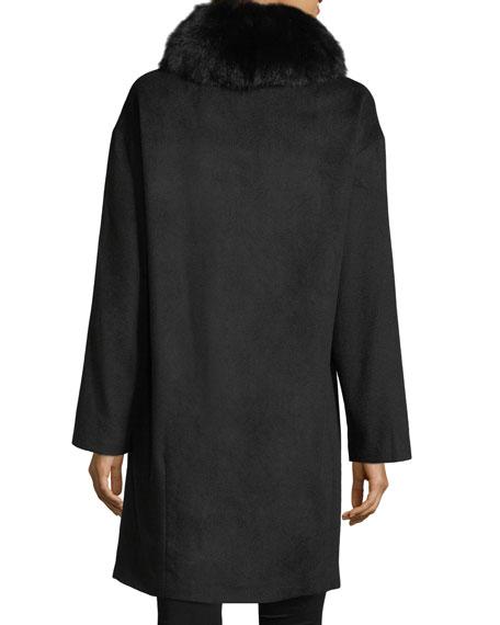 Cashmere Coat w/Detachable Fox Fur Collar