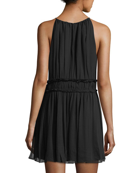 Alithia Halter-Neck Sleeveless Pleated Silk Dress