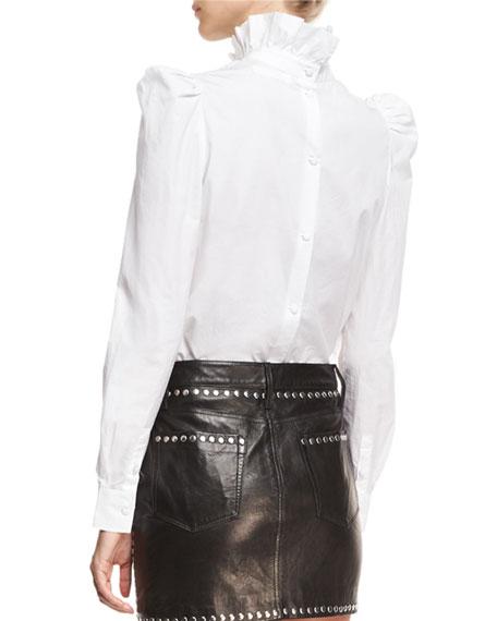 Ruffled-Neck Button-Back Poplin Shirt