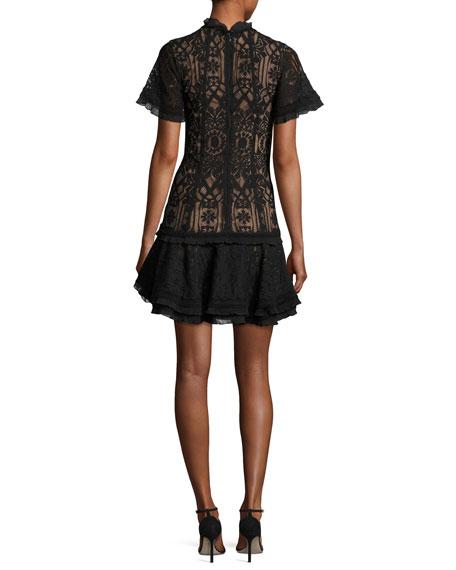 Tower Mesh Lace Ruffled Cocktail Mini Dress